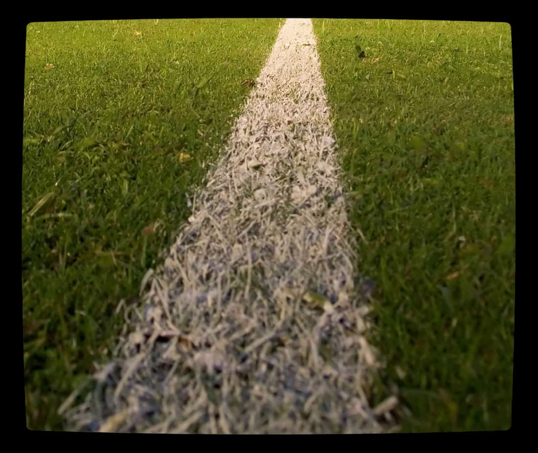 White chalk line marking yard line in grass