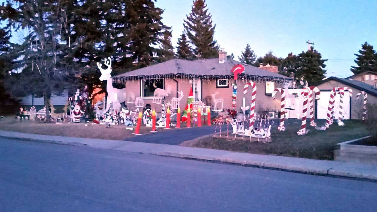 Home with Christmas decorations in the twilight