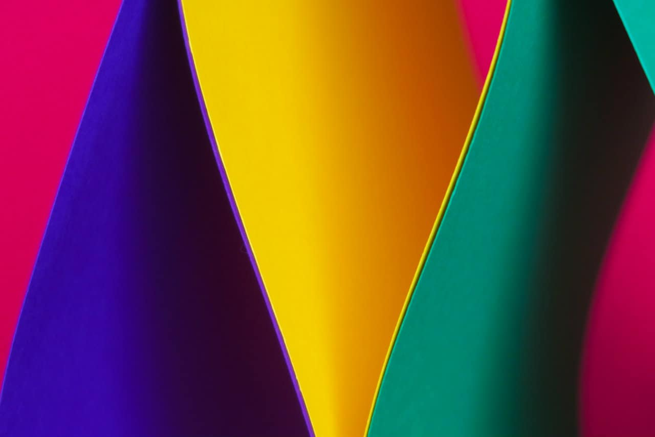 Folds of bright coloured paper